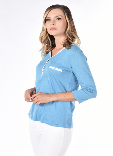 Optique Knitwear Düz Polo Yaka Uzun Kol Penye Bluz Mavi